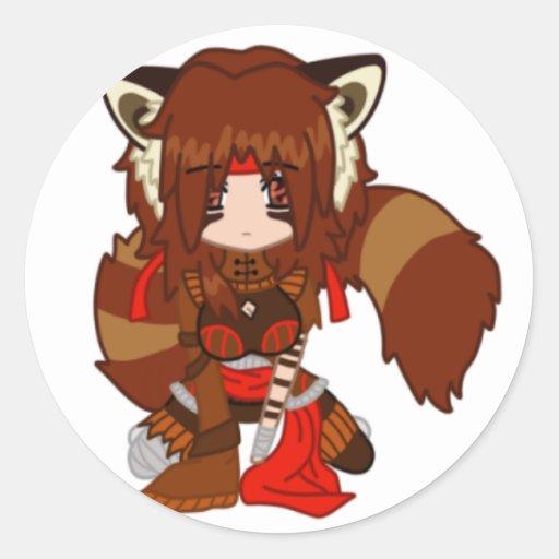 Pegatina de Chibi de la panda roja