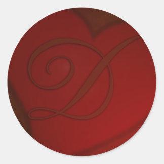 Pegatina de color rojo oscuro del monograma D del