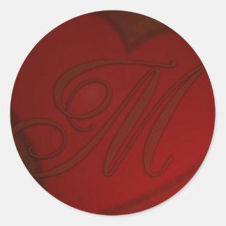 Pegatina de color rojo oscuro del monograma M del