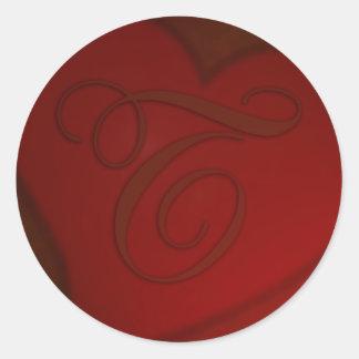 Pegatina de color rojo oscuro del monograma T del