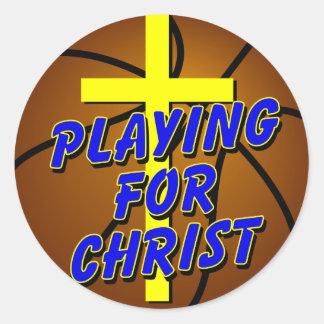 """Pegatina de Cristo del baloncesto """"jugando para"""""""
