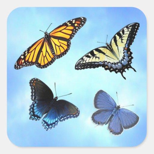 Pegatina de cuatro mariposas