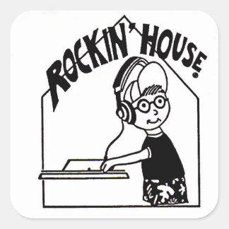 Pegatina de DJ de la casa de Rockin