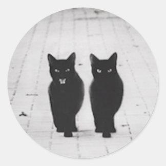 Pegatina de dos gatos negros