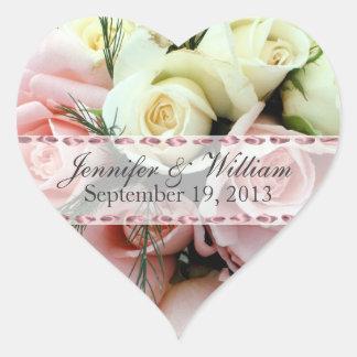 Pegatina de encargo del boda de los rosas rosados