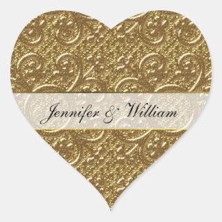 Pegatina de encargo del boda del oro del corazón
