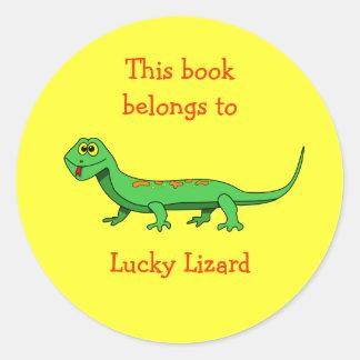 Pegatina de encargo del Bookplate del lagarto del