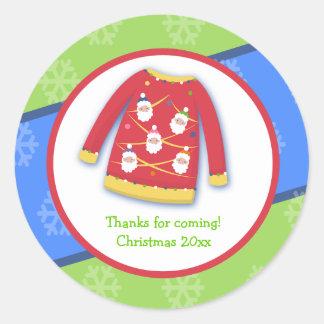 Pegatina de encargo del favor del suéter feo festi
