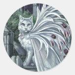 Pegatina de hadas blanco del gato de la belladona