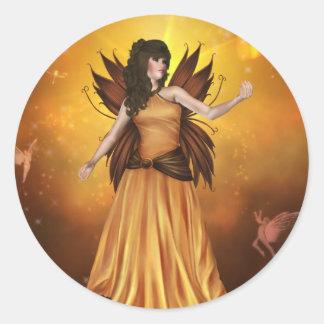 Pegatina de hadas celestial anaranjado