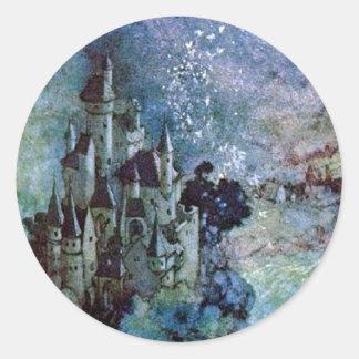 Pegatina de hadas del castillo de la tierra