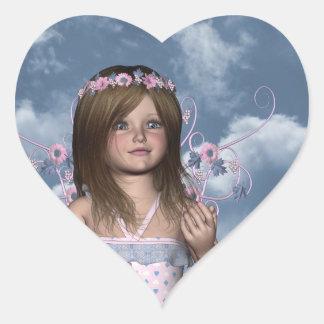 Pegatina de hadas del corazón de Erica del ángel
