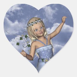 Pegatina de hadas del corazón de Jillie del ángel