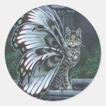 Pegatina de hadas del gato del Tabby gris del