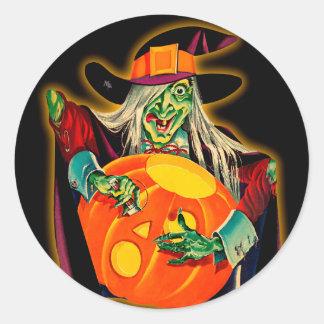 Pegatina de Halloween de la bruja del vintage