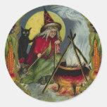 Pegatina de Halloween de la bruja y de la caldera