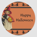 Pegatina de Halloween de la niña del vintage