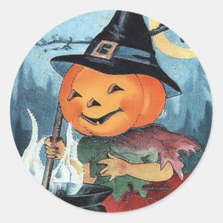 Pegatina de Halloween del vintage de la bruja de