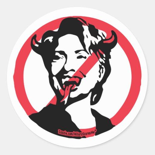 Pegatina de Hillary Anti-Hillary del satén