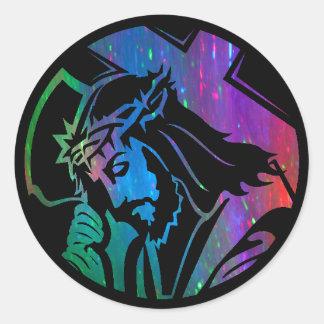Pegatina de Jesús del arco iris