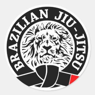 Pegatina de Jiu-Jitsu del brasilen@o (redondo)
