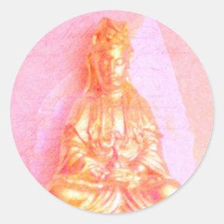Pegatina de Kwan Yin del Rosa-Oro