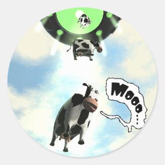 Pegatina de la abducción de la vaca del UFO