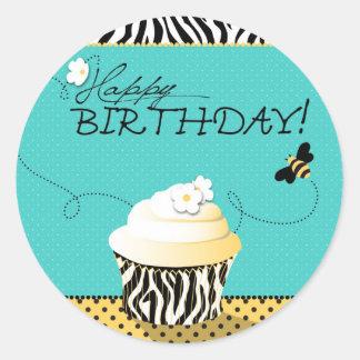 Pegatina de la abeja del cumpleaños