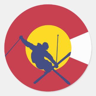 Pegatina de la bandera de Colorado - esquiador -