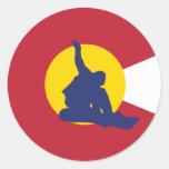 Pegatina de la bandera de Colorado - Snowboarder -