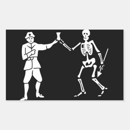 Pegatina de la bandera de pirata de Bartholomew Ro