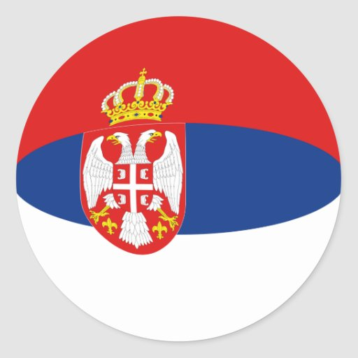Pegatina de la bandera de Serbia Fisheye