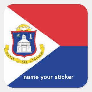 Pegatina de la bandera de Sint Maarten San Martín