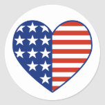 Pegatina de la bandera del corazón de los E.E.U.U.