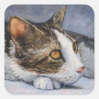 Pegatina de la bella arte del gato