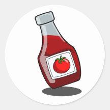 Pegatina de la botella de salsa de tomate del dibu