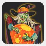 Pegatina de la bruja de Halloween del vintage