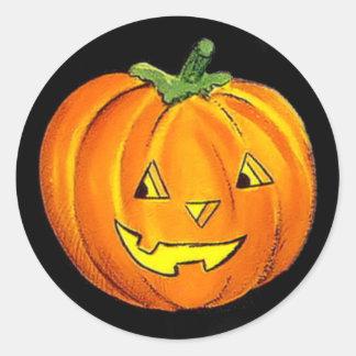 Pegatina de la calabaza del vintage de Halloween