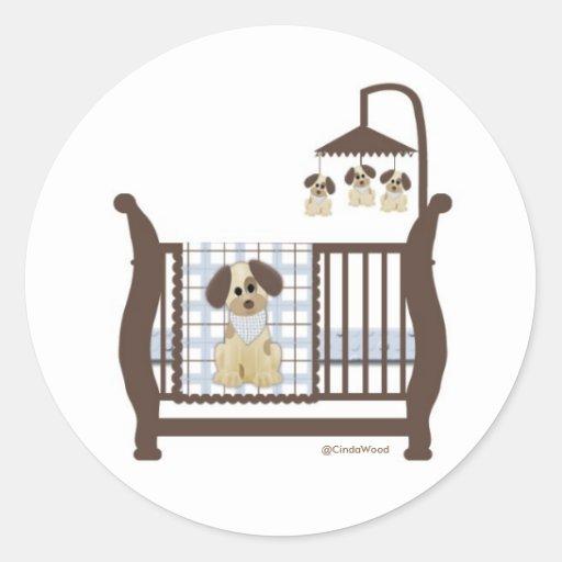 Pegatina de la cama de bebé del perro de perrito
