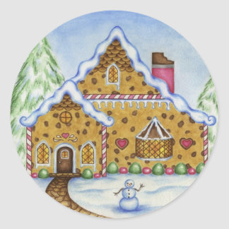 Pegatina de la casa de campo del pan de jengibre