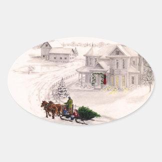 Pegatina de la casa del Victorian del navidad