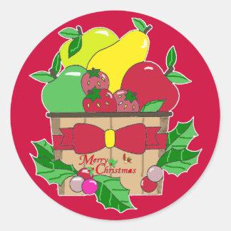 Pegatina de la cesta de fruta de las Felices