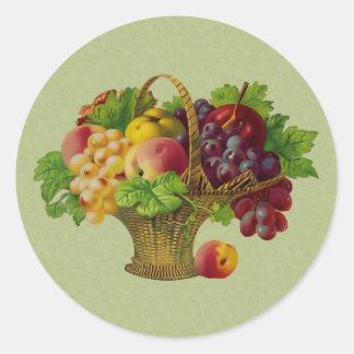 Pegatina de la cesta de fruta del arte del vintage