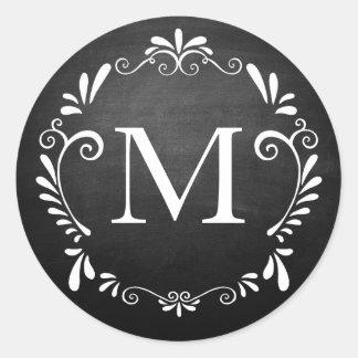 Pegatina de la circular del monograma del boda de