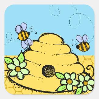 Pegatina de la colmena y de las abejas