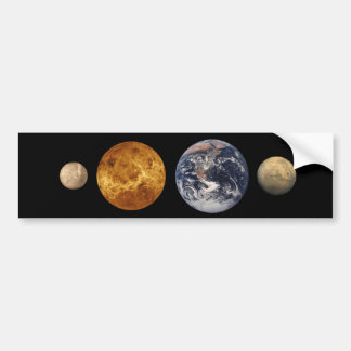 Pegatina de la comparación del tamaño del planeta  pegatina de parachoque