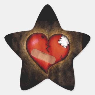 Pegatina de la Corazón-estrella del corazón quebra