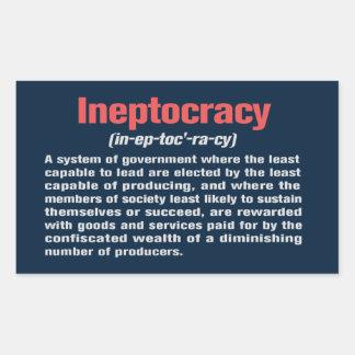 Pegatina de la definición de Ineptocracy
