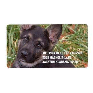 Pegatina de la dirección del perrito del pastor etiquetas de envío