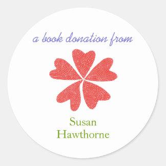 Pegatina de la donación del libro - corazones